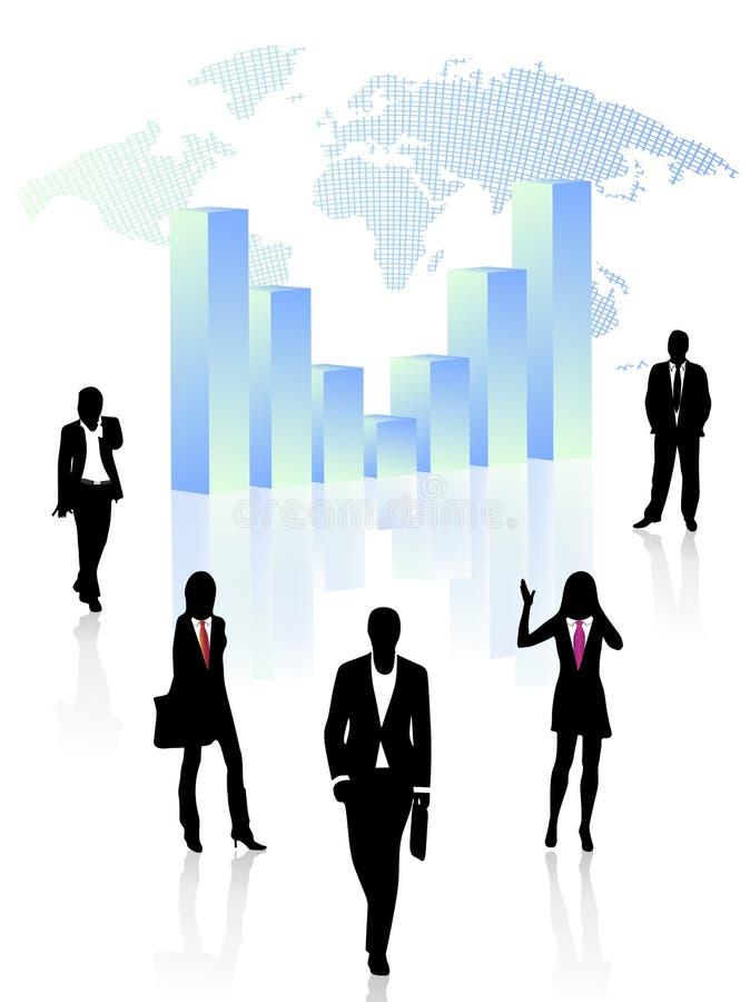Executivos e gráfico ilustração stock