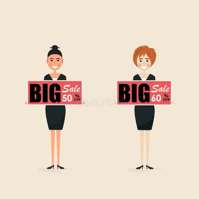 Executivos e placa do preço de oferta do disconto Oferta especial sa ilustração royalty free