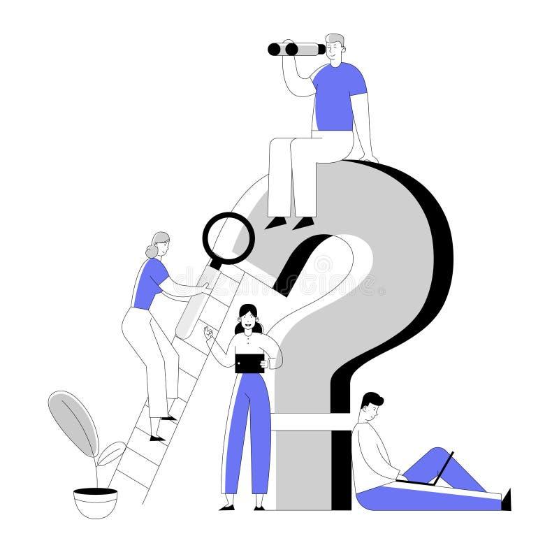 Executivos em torno da pergunta enorme Mark Searching Information com a tabuleta e os binóculos do portátil da lupa ilustração do vetor