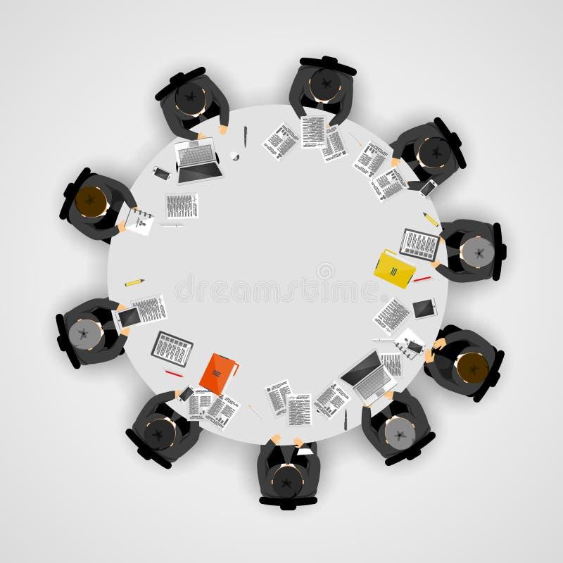 Executivos em uma mesa redonda Conceito dos trabalhos de equipa ilustração stock