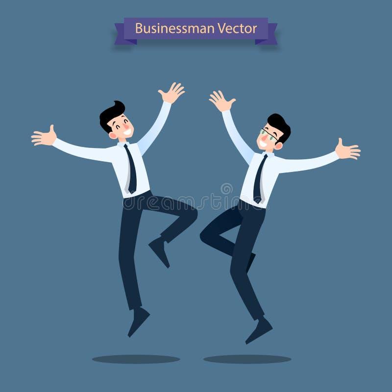 Executivos felizes que comemoram, caráteres de salto, pessoas masculinas e equipe ilustração stock