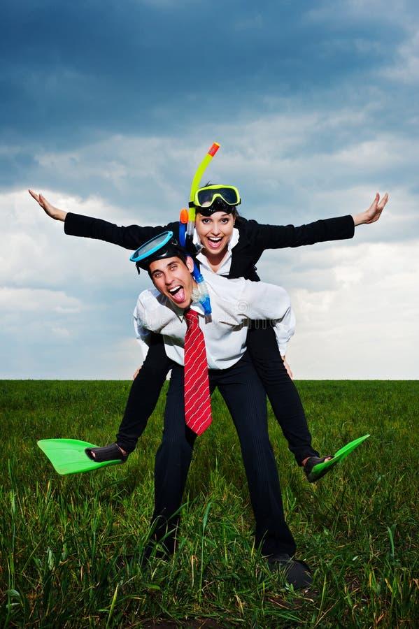 Executivos felizes que vão vacation imagens de stock