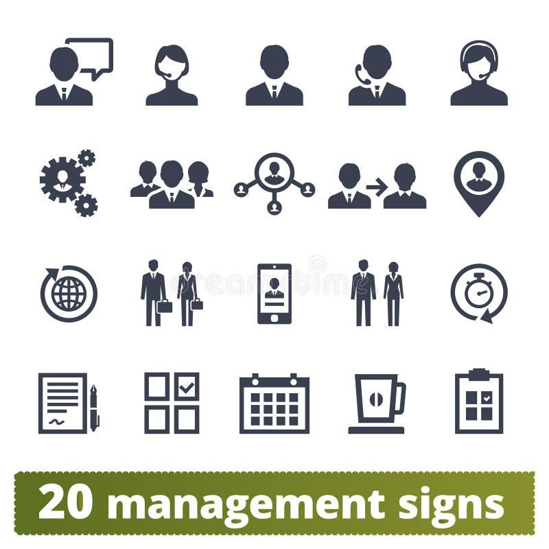 Executivos, gestão e ícones dos trabalhos de equipe ilustração do vetor