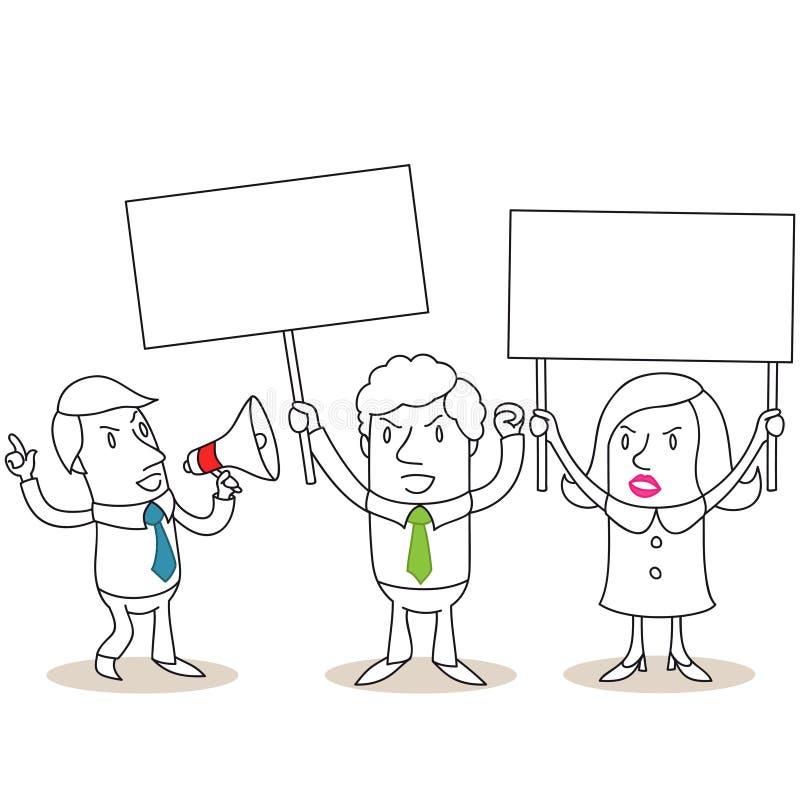 Executivos irritados que protestam com sinais vazios ilustração do vetor