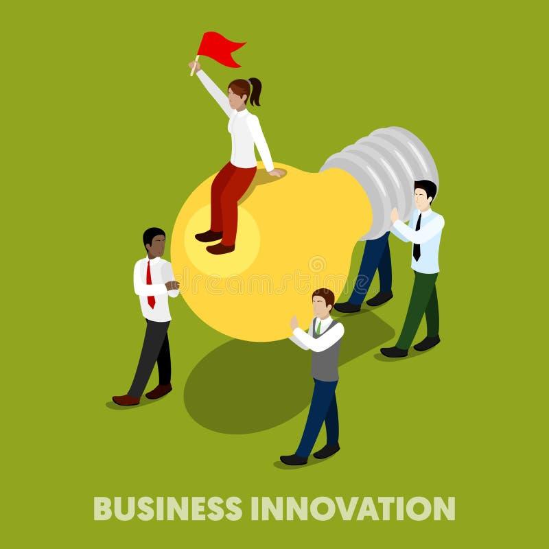 Executivos isométricos do conceito da inovação ilustração do vetor