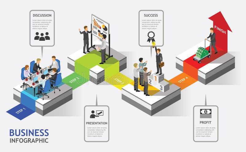Executivos isométricos do vetor dos trabalhos de equipa ilustração stock