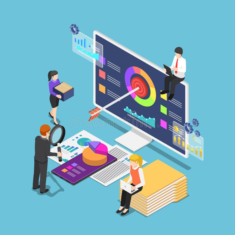 Executivos isométricos que analisam estatísticas de negócio ilustração royalty free
