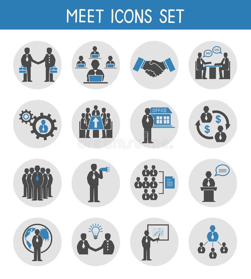 Executivos lisos que encontram os ícones ajustados