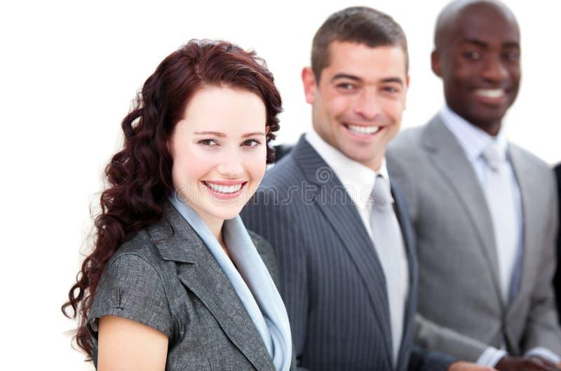 Executivos multi-ethnic alegres em uma reunião fotografia de stock