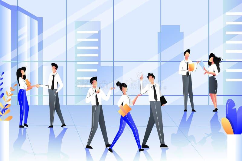 Executivos na construção moderna do escritório empresarial Uma comunicação da equipe, reuniões, processo do trabalho Ilustra??o d ilustração royalty free
