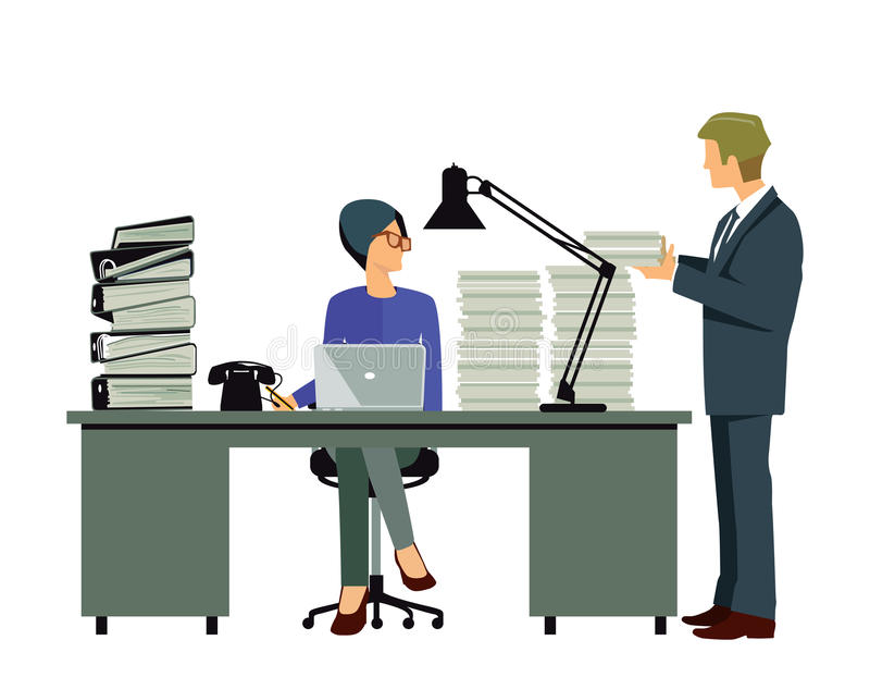 Executivos na mesa desordenada ilustração do vetor
