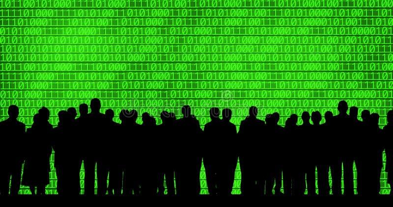 Executivos no fundo do código binário ilustração stock