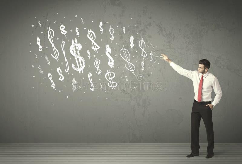 Executivos novos com sinais de dólar tirados mão foto de stock royalty free