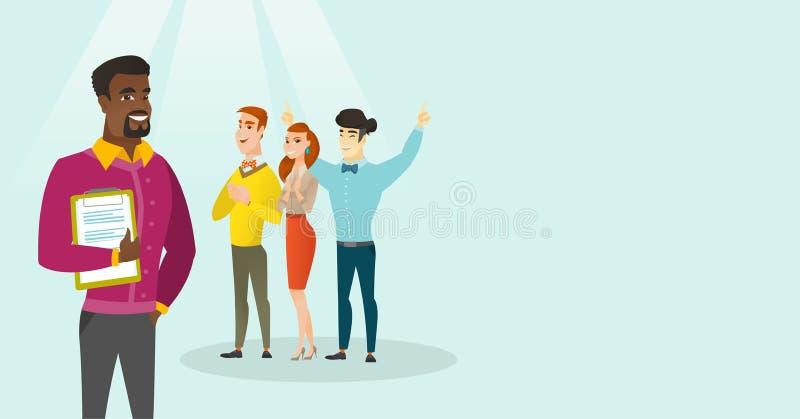 Executivos novos que aplaudem na conferência ilustração stock