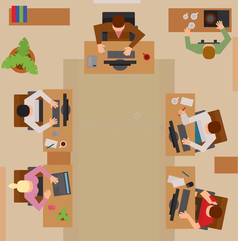 Executivos ocupados que sentam-se no vetor da tabela ilustração stock