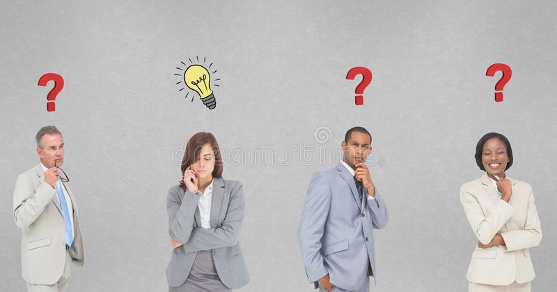 Executivos pensativos com pontos de interrogação e marcas da ampola na parede ilustração do vetor
