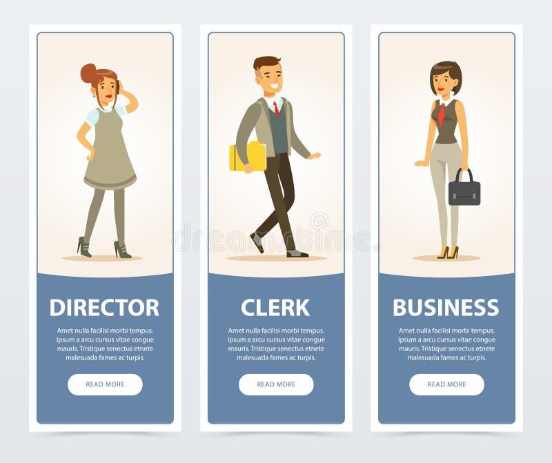 Executivos, pessoal da empresa, diretor, caixeiro, bandeiras do negócio para o folheto de propaganda, cartaz relativo à promoção  ilustração royalty free