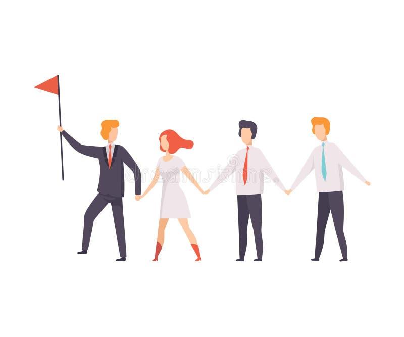Executivos que andam ao objetivo para seu líder, negócio bem sucedido Team Vetora Illustration ilustração royalty free