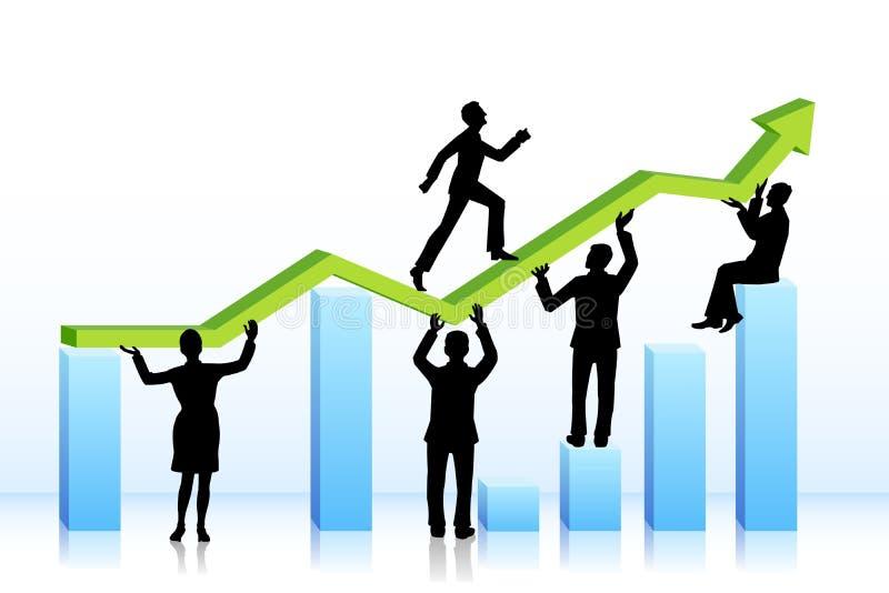 Executivos que andam no gráfico de barra ilustração royalty free