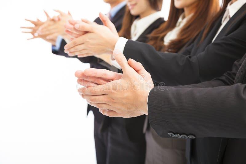 Executivos que aplaudem no fundo branco isolado imagens de stock royalty free