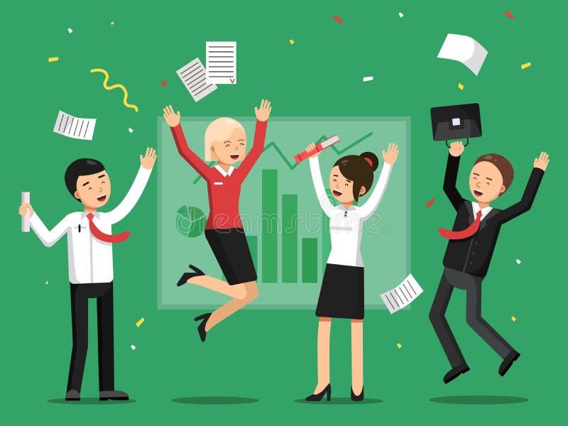 Executivos que comemoram o sucesso da grande coisa ilustração do vetor