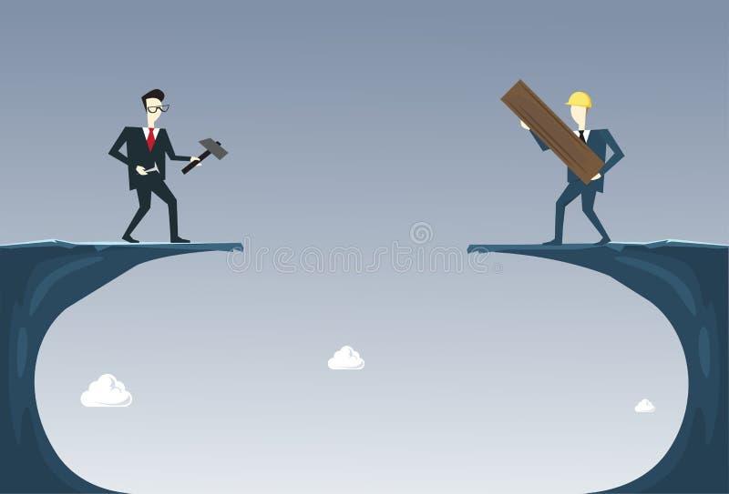 Executivos que constroem a ponte sobre o conceito da cooperação de Cliff Gap Partner Support Businesspeople ilustração do vetor