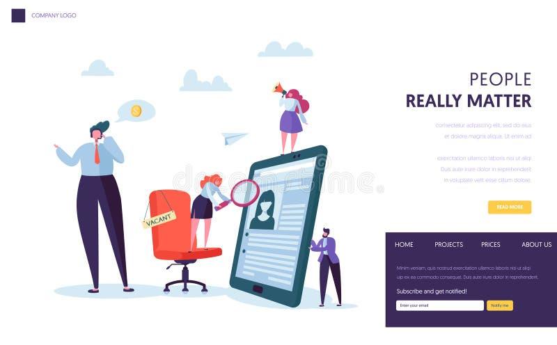 Executivos que contratam o projeto novo da bandeira do pessoal Cadeira do escritório com sinal da vacância Web site do conceito d ilustração royalty free