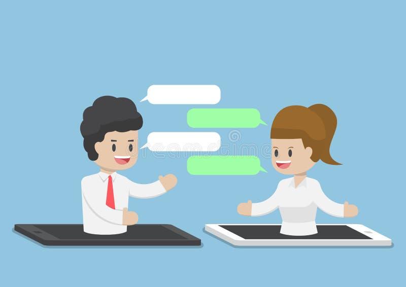 Executivos que conversam através de Smartphone ou da tabuleta ilustração do vetor