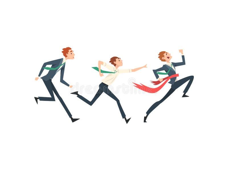 Executivos que correm ao meta, Team Leader Business Competition, homens de negócios que competem entre se ilustração royalty free