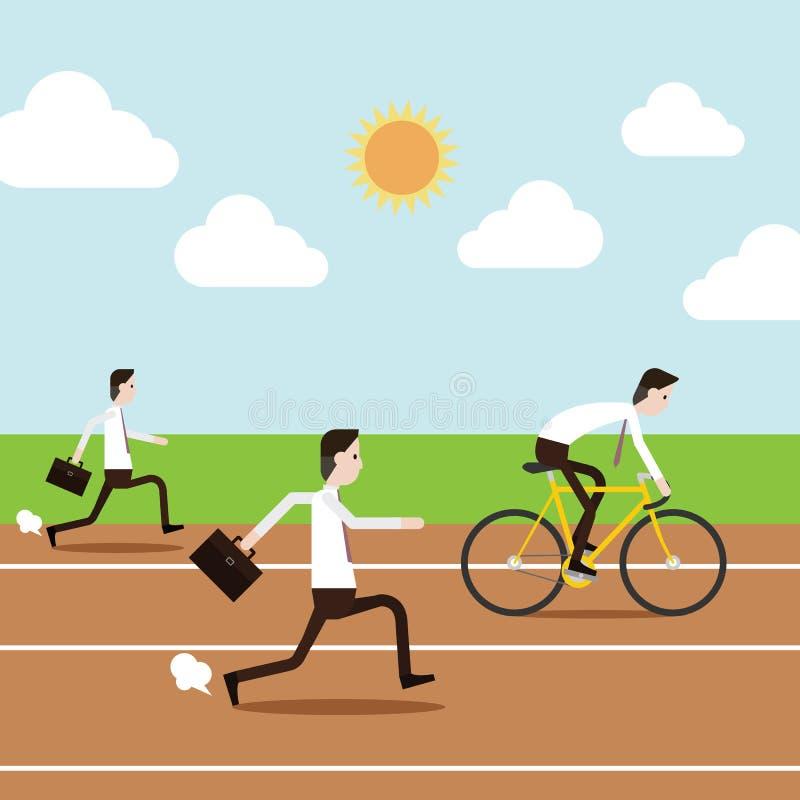 Executivos que correm e que montam a bicicleta na pista ilustração royalty free