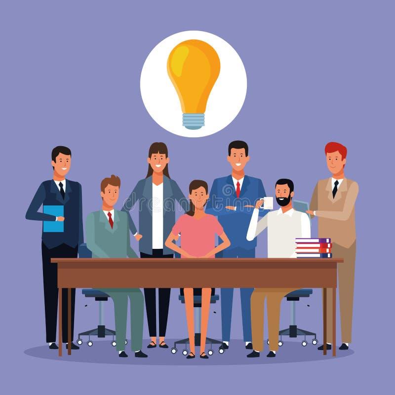 Executivos que coworking ilustração stock