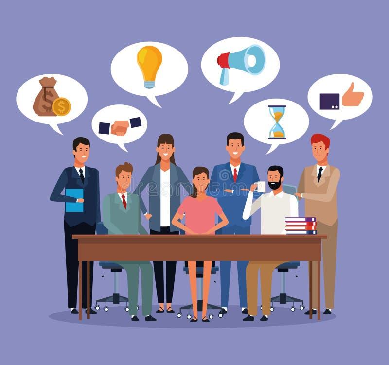 Executivos que coworking ilustração do vetor