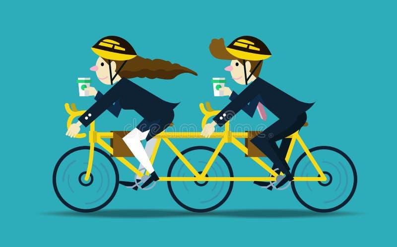 Executivos que dão um ciclo para trabalhar Conceito dos trabalhos de equipa ilustração royalty free