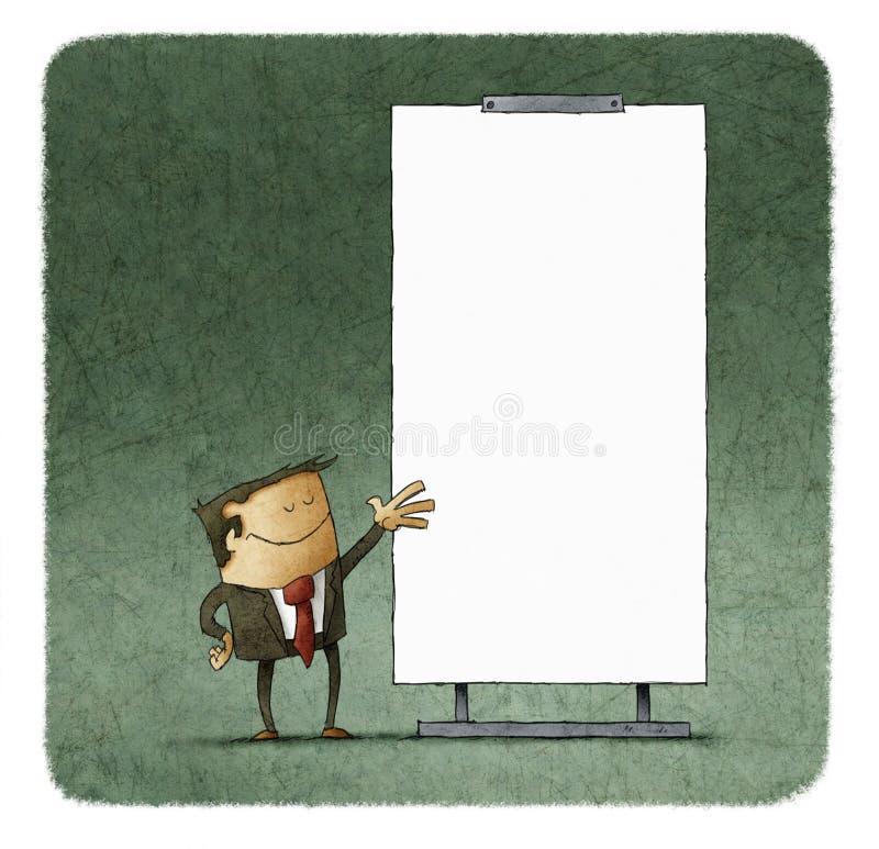 Executivos que dão uma apresentação na placa branca ilustração do vetor