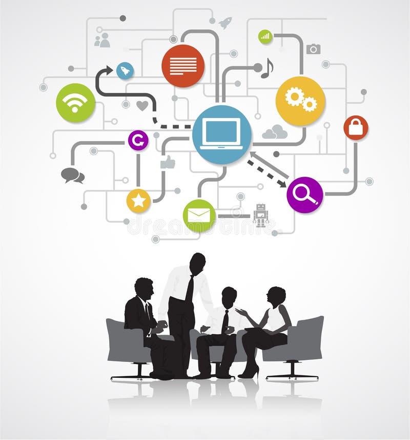 Executivos que discutem o conceito de recarregamento dos dados ilustração stock