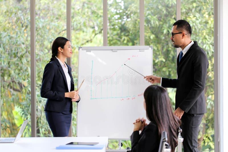 Executivos que encontram o escritório de trabalho da discussão de uma comunicação, encontrando o conceito incorporado dos trabalh imagem de stock royalty free