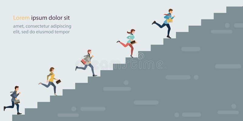 Executivos que escalam a escada alta ilustração do vetor