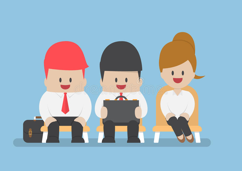 Executivos que esperam a entrevista de trabalho ilustração do vetor
