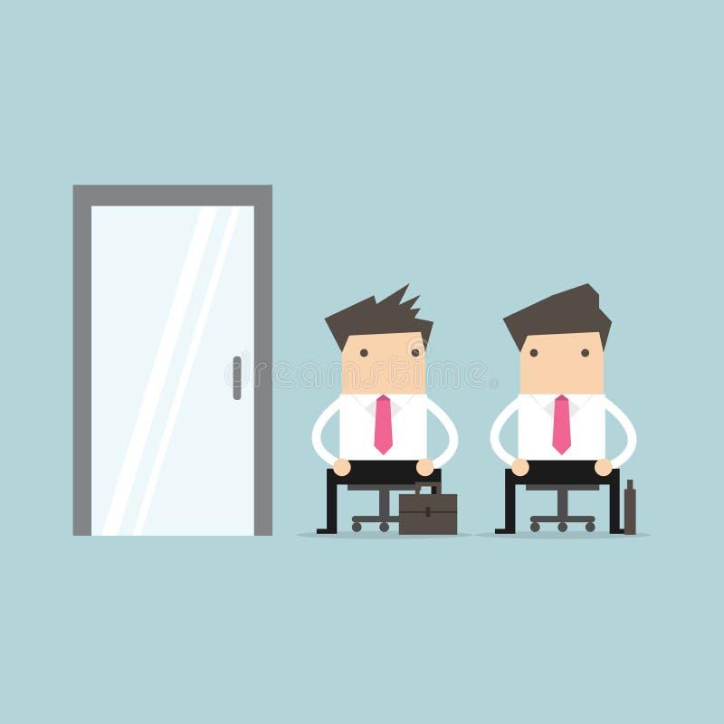 Executivos que esperam a entrevista de trabalho ilustração royalty free