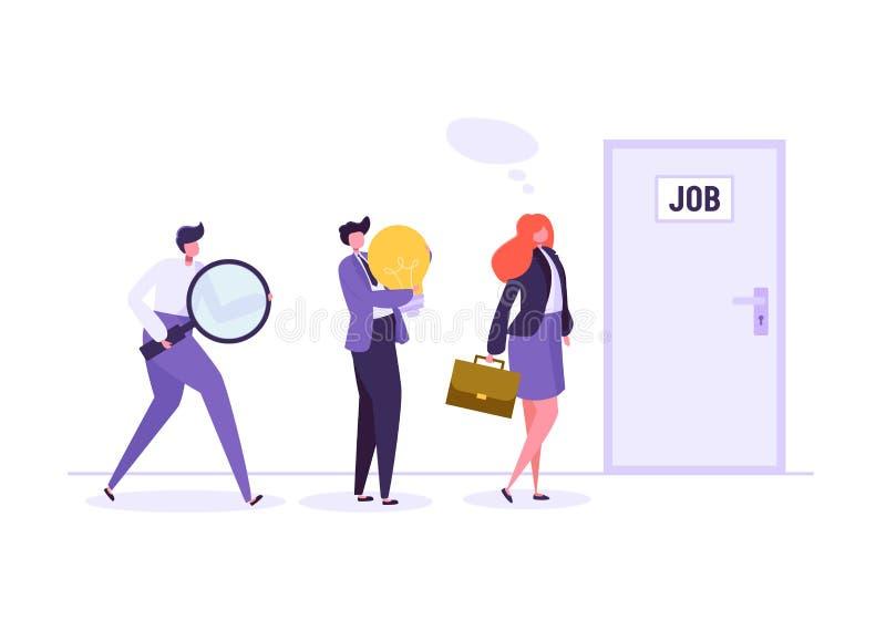 Executivos que esperam a entrevista de trabalho na frente da porta Homem de negócios e mulher de negócios à procura do trabalho n ilustração royalty free