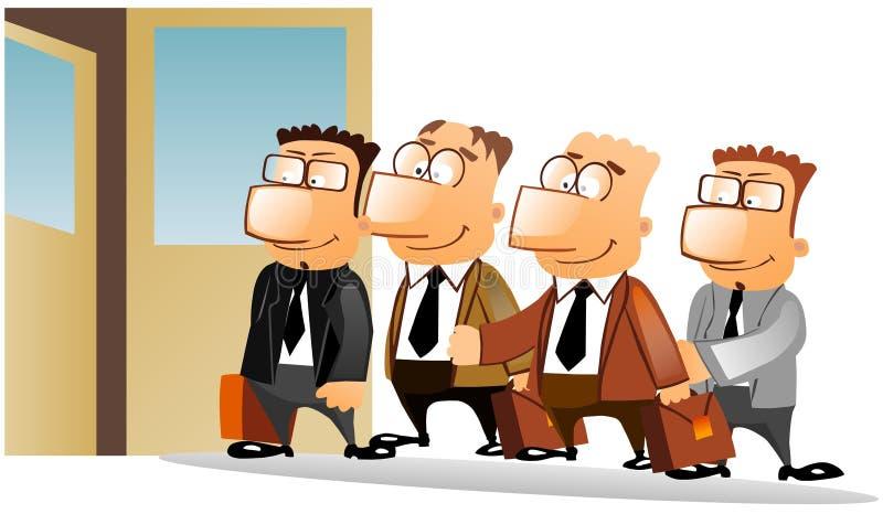 Executivos que estão na fila. ilustração do vetor