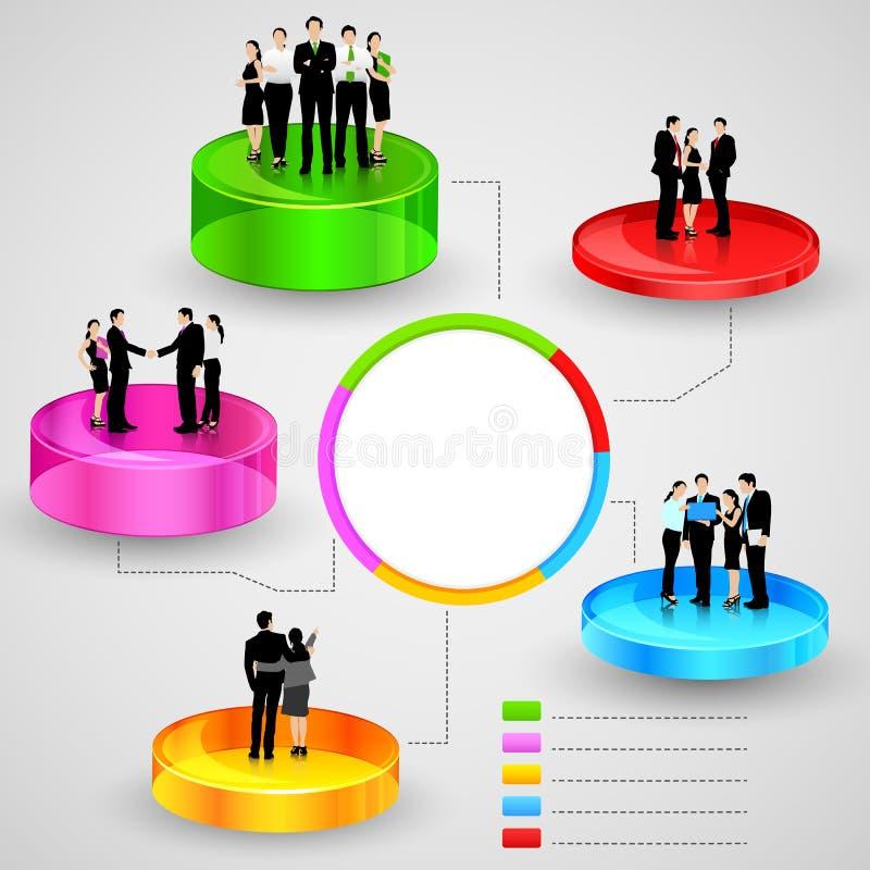 Executivos que estão sobre o gráfico de negócio ilustração do vetor