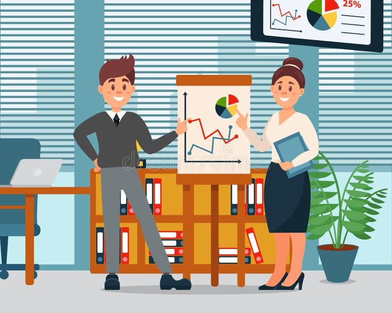 Executivos que explicam gráficos na carta de aleta, caráteres da informação do negócio que trabalham no escritório, escritório mo ilustração do vetor