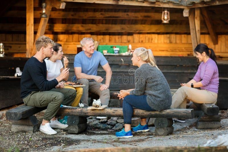 Executivos que falam ao comer o alimento pela vertente na floresta imagens de stock