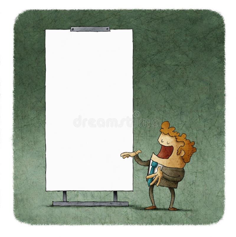 Executivos que falam na placa branca ilustração do vetor