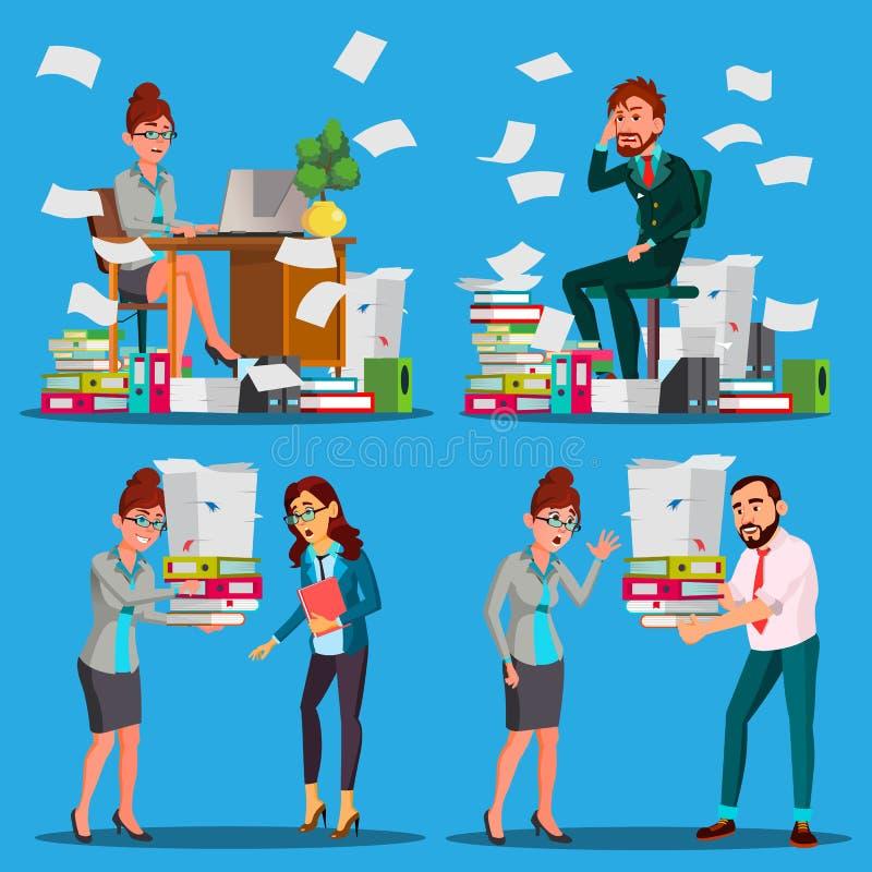 Executivos que fazem o vetor do documento Trabalhadores de escritório Dia muito ocupado Ao trabalho excessivo Burocracia da conta ilustração royalty free