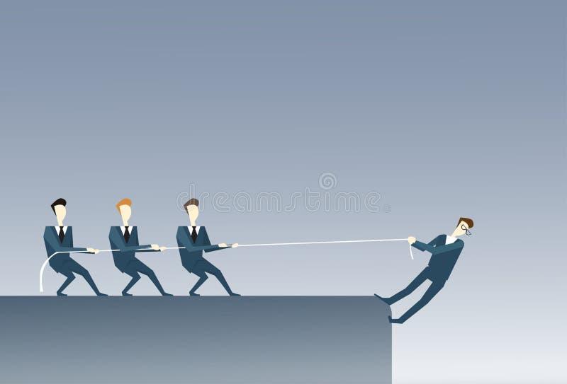 Executivos que guardam o conceito dos trabalhos de equipa de Hanging Cliff Partner Support Businesspeople Risk do homem de negóci ilustração do vetor