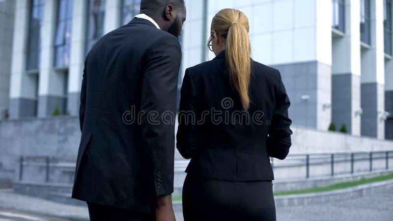 Executivos que leem os documentos, preparando o discurso antes de encontrar, vista traseira imagem de stock