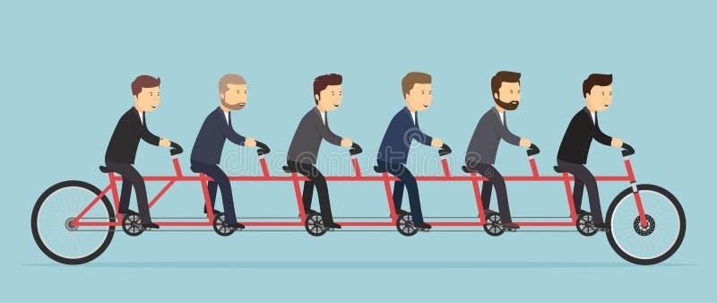 Executivos que montam em uma bicicleta de cinco-Seat ilustração royalty free