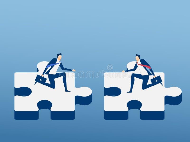 Executivos que montam o enigma de serra de vaivém que alcança um acordo A parceria dos trabalhos de equipa e coopera conceito ilustração royalty free